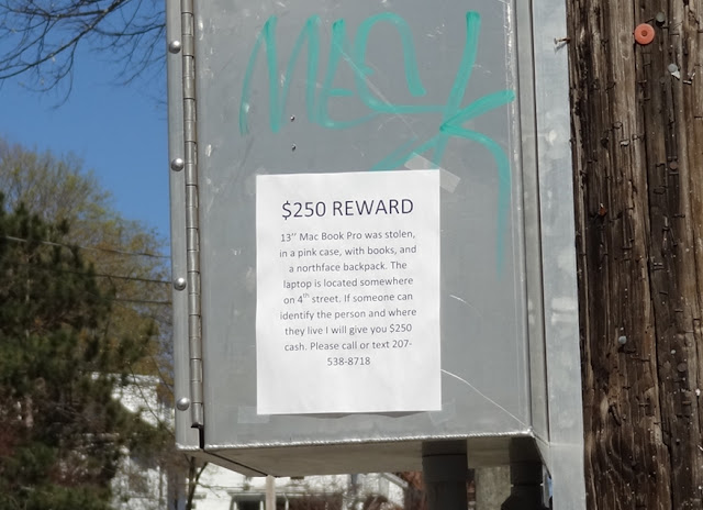 Cedar Street,reward,post,stolen mac,Bangor Maine