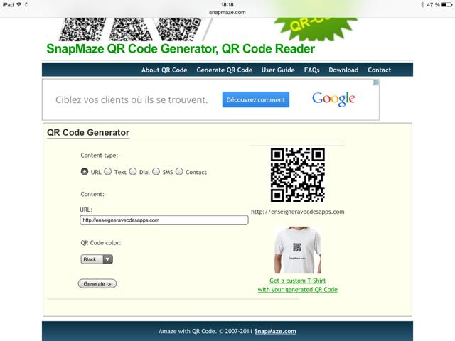 générer un QR Code avec SnapMaze