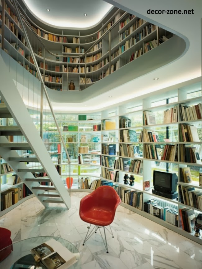 Modern home library design ideas dolf kr ger for Home library ideas design