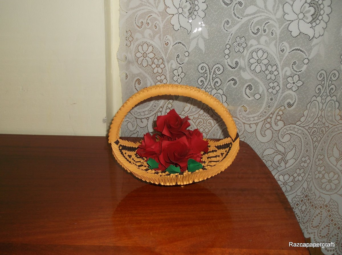 razcapapercraft 3d origami basket with flower