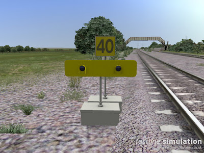 Fastline Simulation: Temporary speed restriction warning sign and speed board