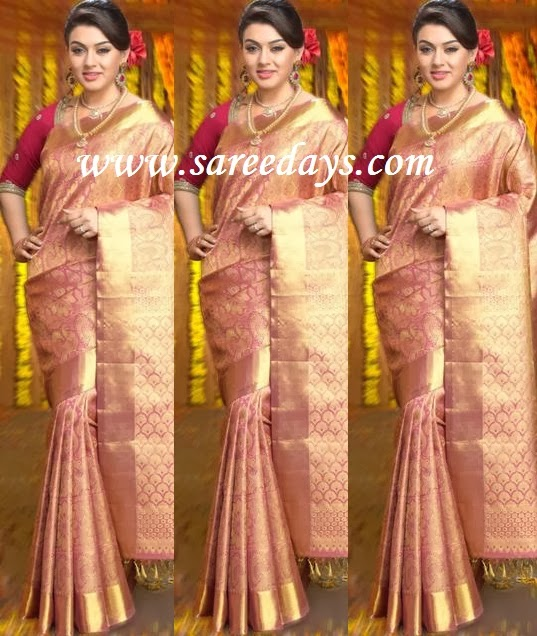 Latest saree designs hansika in pink bridal silk saree checkout hansika in pink bridal silk saree wiith heavy zari patterns all over the saree and zari border and rich zari pallu and paired with red contrast altavistaventures Image collections