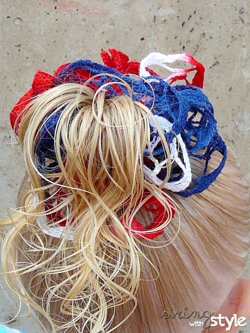 Crochet Yarn Hair Patterns : String With Style: Ruffle Hair Bow