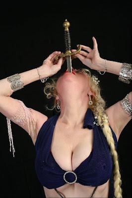 Natasha Verushkaset the record for the longest sword swallowed on live TV