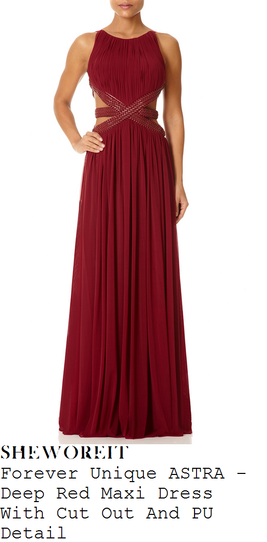 ashley-roberts-dark-red-pleated-cut-out-detail-sleeveless-maxi-dress