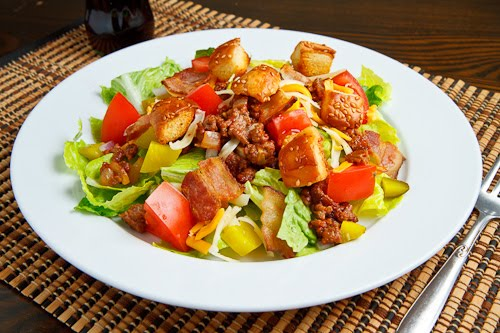 Bacon Double Cheese Burger Salad on Closet Cooking