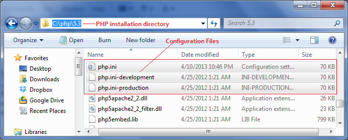 PHP configuration file