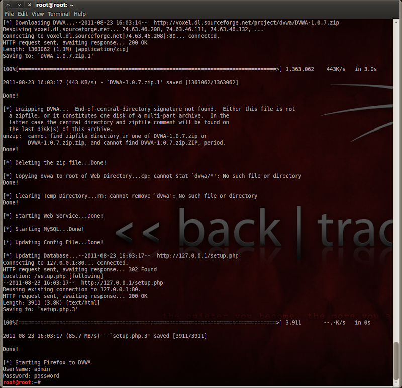 ScreenShot of installDVWA.sh