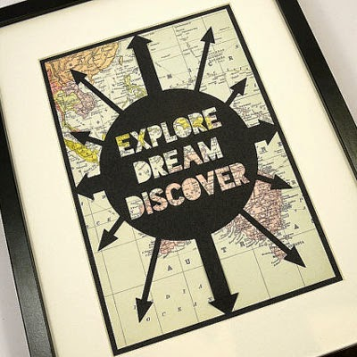 Ma Bicyclette: Buy Handmade | Christmas Gift Guide For Him - 'Explore Dream Discover' Papercut Artwork