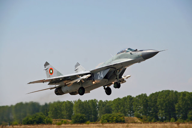 Bulgarian MiG-29 with pair of R-27R (AA-10 Alamo) missiles