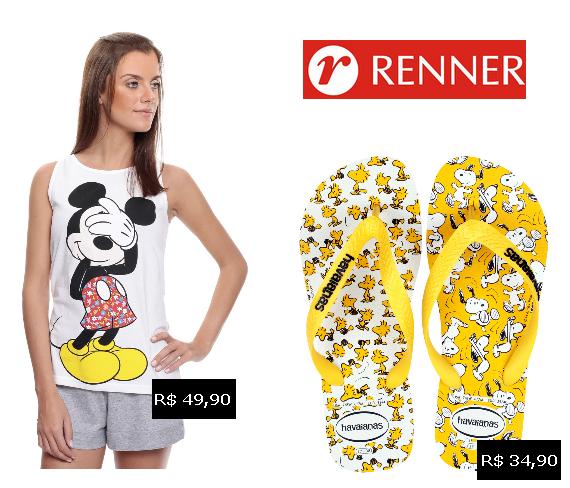Renner: short doll Mickey e chienlo havaianas Snoop
