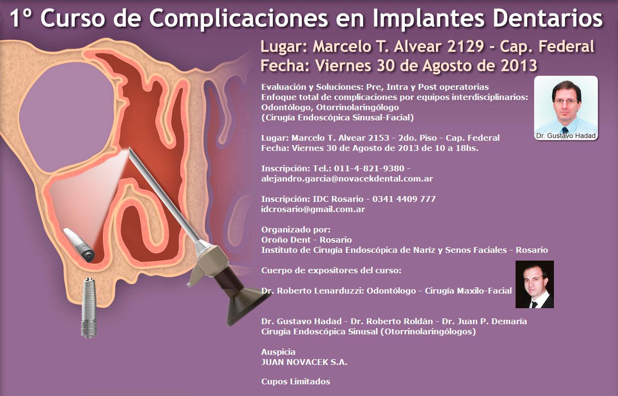 Curso de Complicaciones en Implantes Dentarios - Dr. Gustavo Hadad