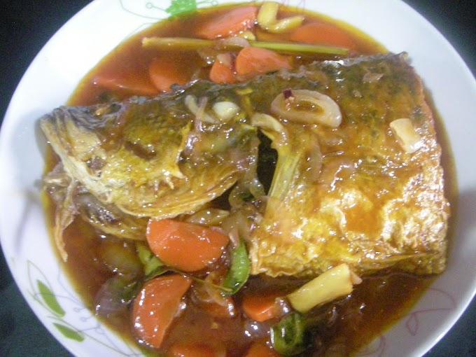 Ikan Siakap masak sweet sour for dinner