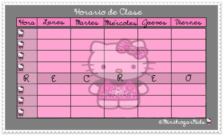 TU HORARIO DE CLASE DE HELLO KITTY FASHION Pincha Sobre El Horario