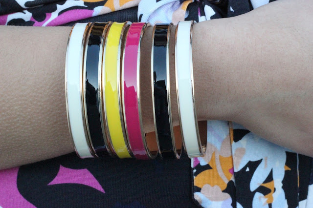 Pink, Black, White, and Yellow Bangles