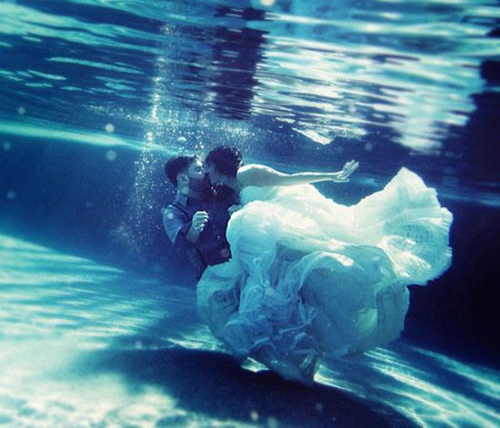 ensaio fotográfico de casamento embaixo da água