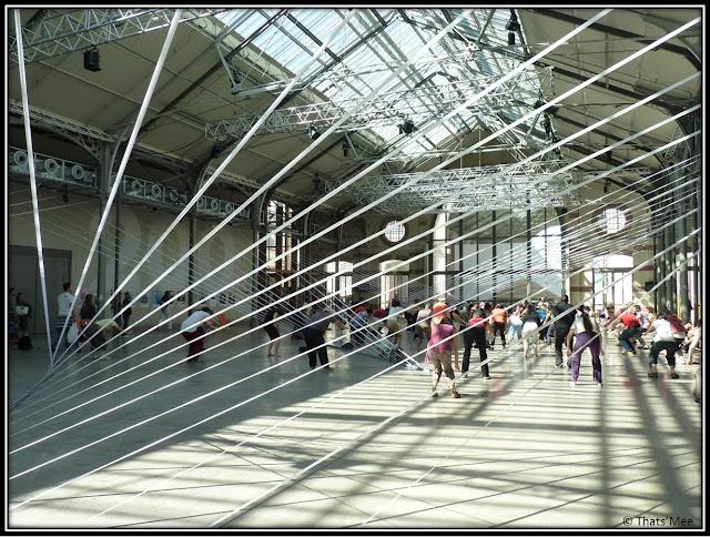 Cours Taï chi 1ère Halle 104 Cent Quatre Paris 19ème, Installation Connexions Anne Flore Cabanis