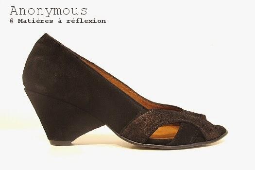 Chaussures Anonymous bronze escarpins noir graphiques Elena ouvert