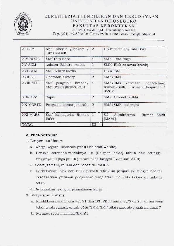 Penerimaan Tenaga Kependidikan Non PNS Kontrak Rumah Sakit Nasional Diponegoro, Universitas Diponegoro http://indonersiacenter.blogspot.com/