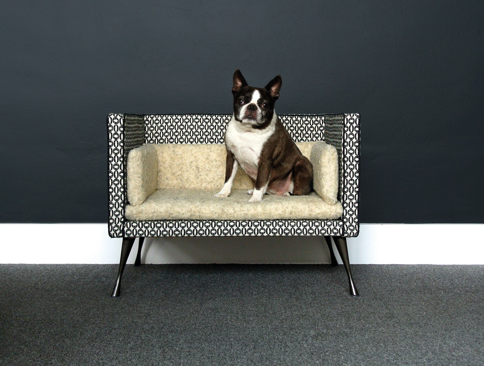 savoir beds top dog  introducing our luxury pet bed - the adorable bed is upholstered in a monochrome scandi style larsenbaytown fabric with cosy sherpa fleece cushion pads which are removable andmachine