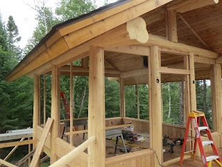 Log cedar lake home ely gazebo huisman Ely MN nothern minnesota