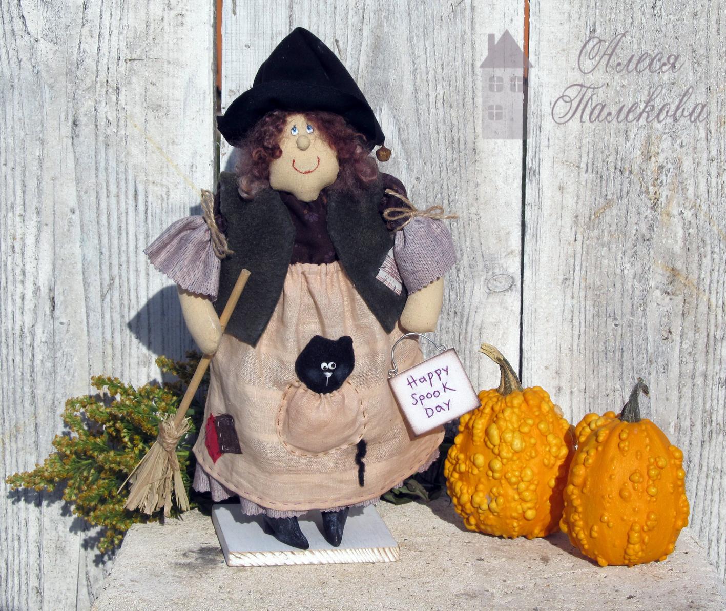 кукла-ведьмочка, хэллоуин, happy spook day, выкройка ведьмочки, Halloween