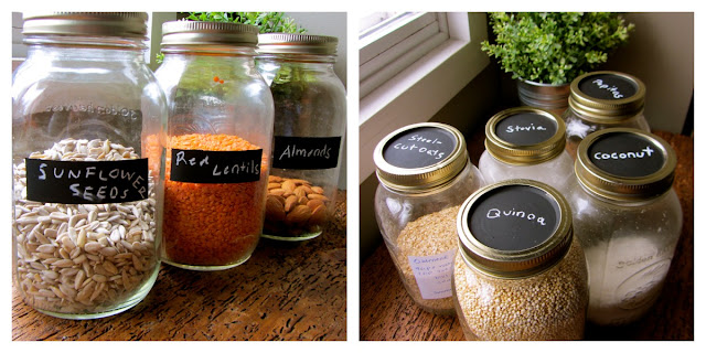 mason jars with chalkboard paint labels and label written in chalk