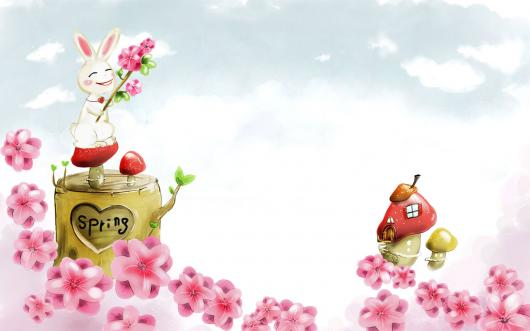 Preview These Easter Spring Wallpapers By Clicking And Downloading For Free Bunny Holding String Of Flowers Tulips White Rabbits Basket Eggs Many
