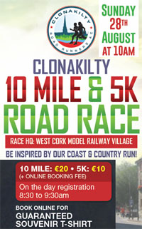 10 mile & 5k race in Clonakilty in West Cork...Sun 28th Aug 2016