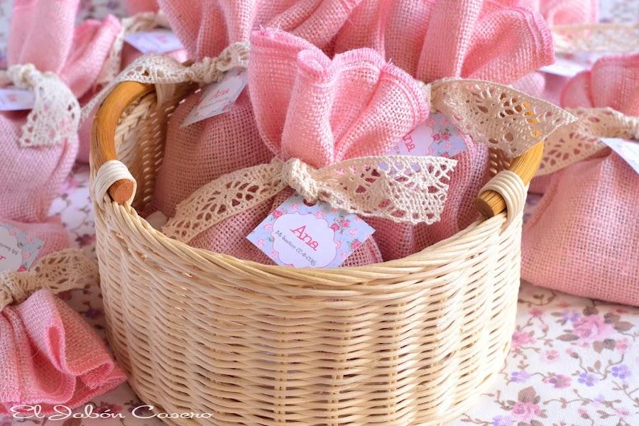 detalles para bautizos saquitos aromaticos rosa