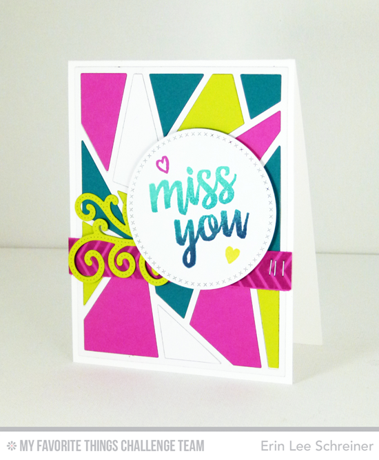 Colorful Miss You Card by Erin Lee Schreiner featuring the Written in Watercolor stamp set and Abstract Cover-Up Die-namics