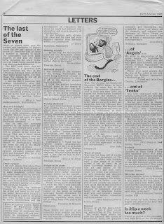 Radio Times letters page, 16-22 January 1982, on the end of Blake's 7