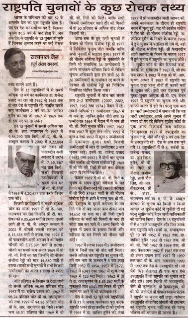राष्ट्रपति चुनावों के कुछ रोचक तथ्य - सत्य पाल जैन, पूर्व सांसद, चंडीगढ़