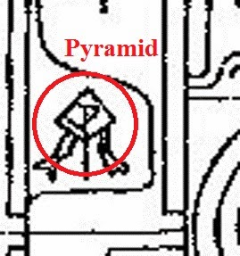 Symbol of pyramid on Sakwala Chakraya, axonometric drawing, with some underground tunnels