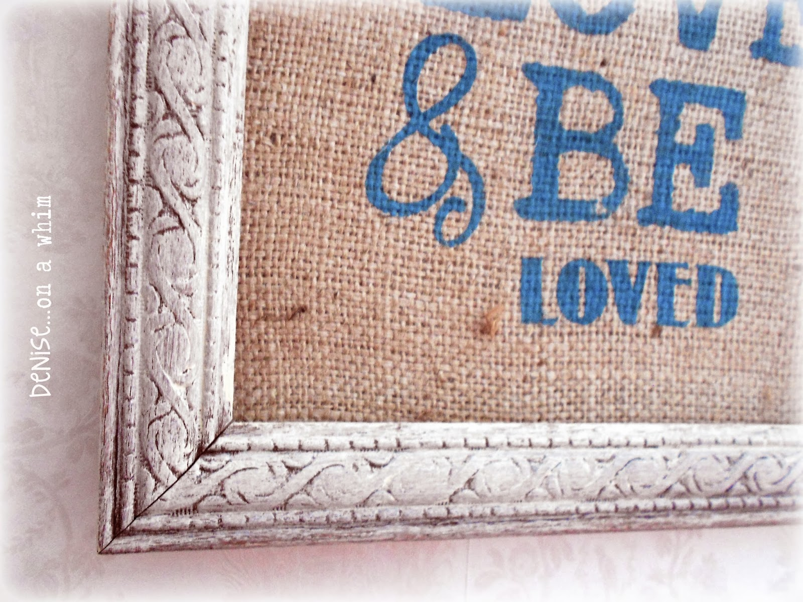 Peacock Chalk Paint on Burlap in a Pretty Cream Frame for Valentine's Day via http://deniseonawhim.blogspot.com