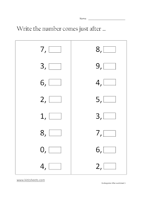 Free Printable Kindergarten After Numbers Worksheets, Free Math Worksheets, Kids Math Worksheets, Maths Worksheets, Kindergarten After Numbers Worksheets, After Numbers, Kindergarten, Kids After Numbers.