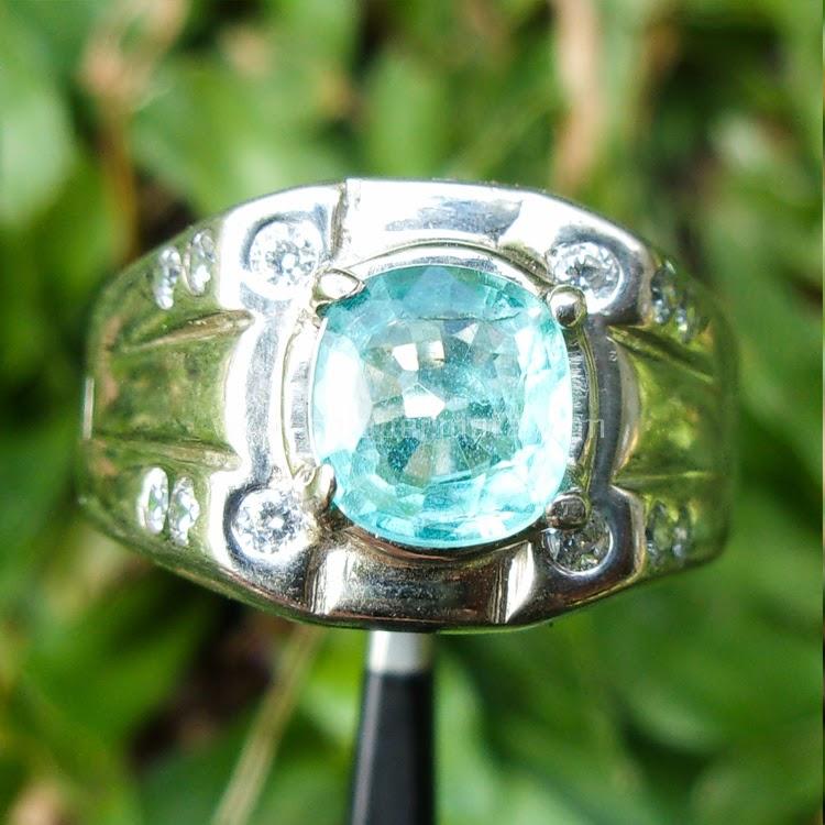 Cincin Batu Permata Blue Apatite - Sp446