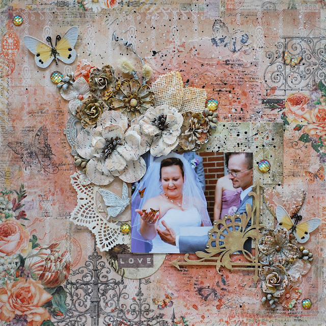 wedding layout by Tracey Sabella, featuring Blue Ferns Studio Autumn Anthology.