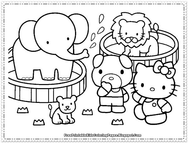 Girls Hello Kitty Coloring Pages