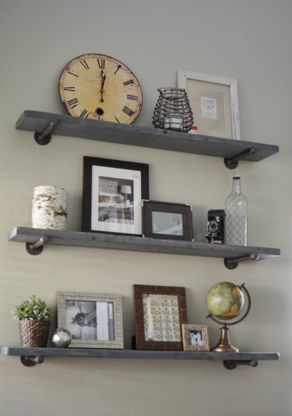 Loving what we live photo wall display on diy restoration hardware shelves - Wall metal shelf ...