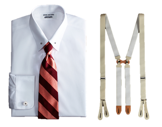 Timeless Look Great gatsby Collection Brooks Brothers shirt tie suspenders