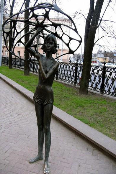 Statue Girl with an Umbrella in Mihailovskiy Park - Belarus
