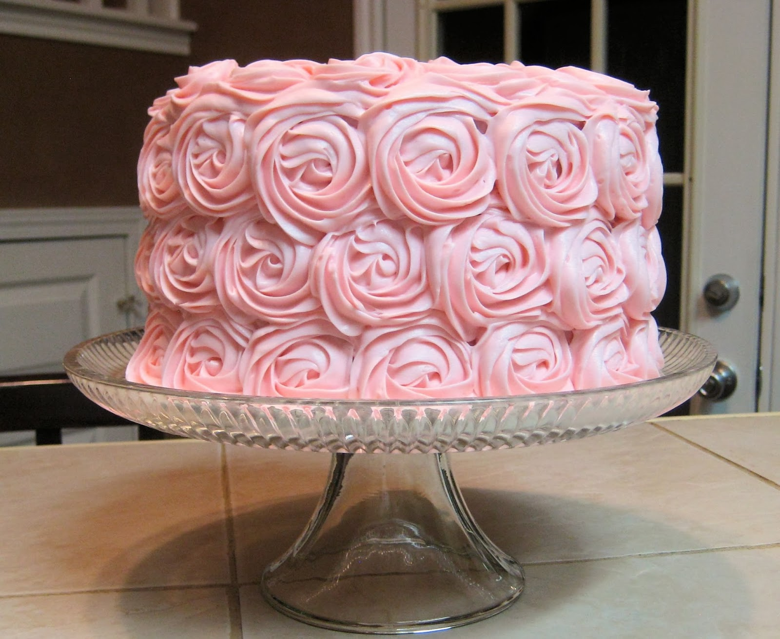 Shabby Chic Baby Shower Pink Rose Cake 1