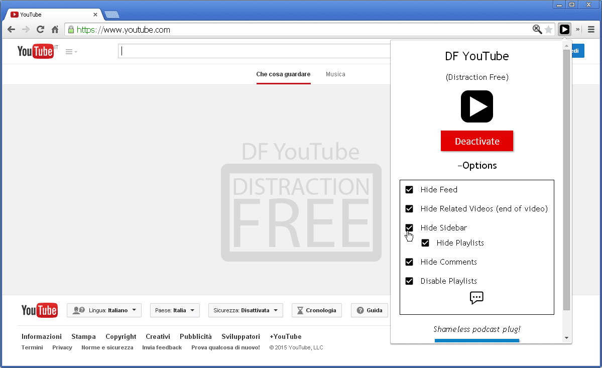 DF YouTube (Distraction Free) attiva su Chrome
