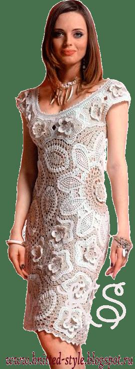 летнее платье в технике ирландского кружева