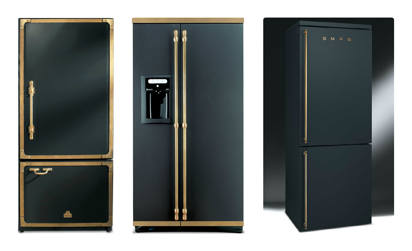 Black & Brass Refrigerators | The Twisted Horn