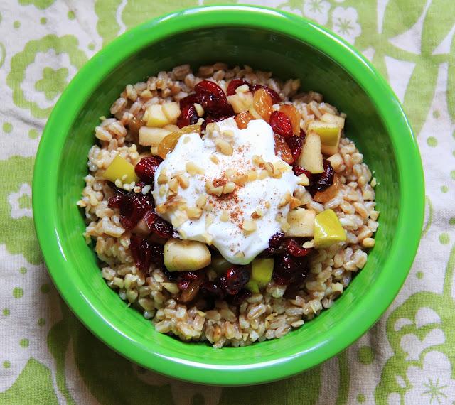 Breakfast Farro: Dried Fruit & Apple Infused Farro w/ Sweet Greek Yogurt