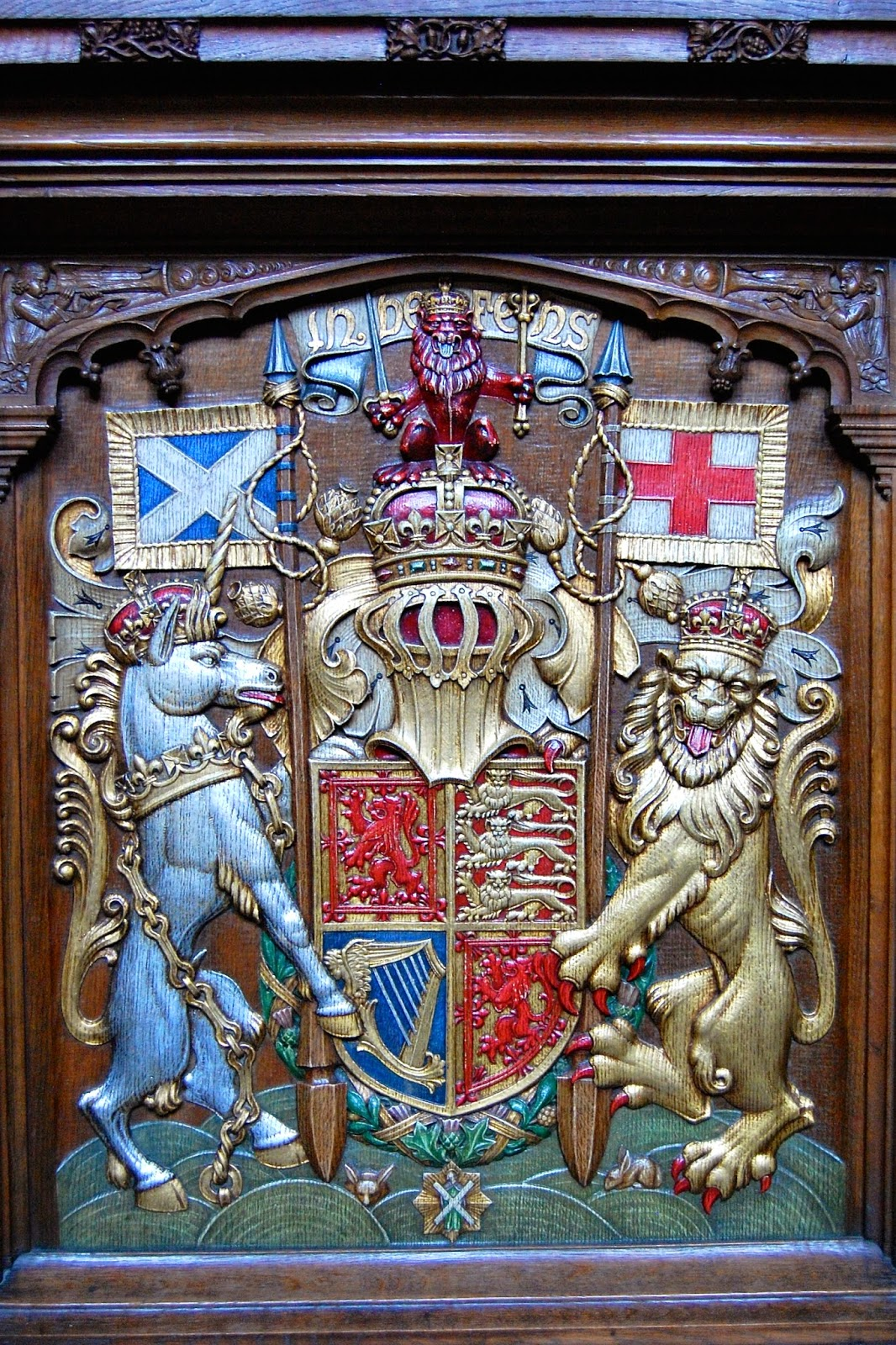 Carving on Queen's seat in Thistle Chapel at St. Giles Cathedral