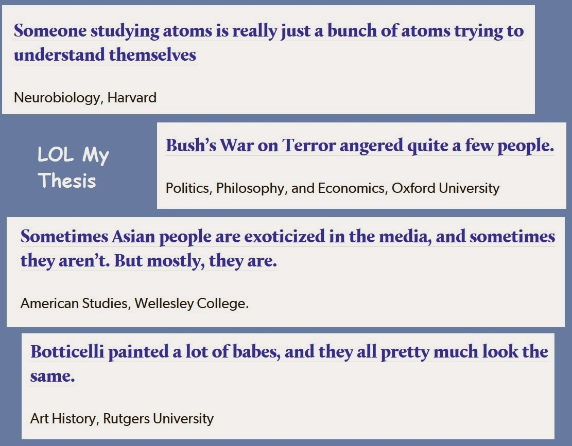 "screen snips from lol my thesis: ""Someone studying atoms is really just a bunch of atoms trying to understand themselves"" -- Neurobiology, Harvard. ""Bush's War on Terror angered quite a few people."" -- Politics, Philosophy, and Economics, Oxford University. ""Sometimes Asian people are exoticized in the media, and sometimes they aren't. But mostly, they are."" American Studies, Wellesley College. ""Botticelli painted a lot of babes, and they all pretty much look the same."" Art History, Rutgers University"