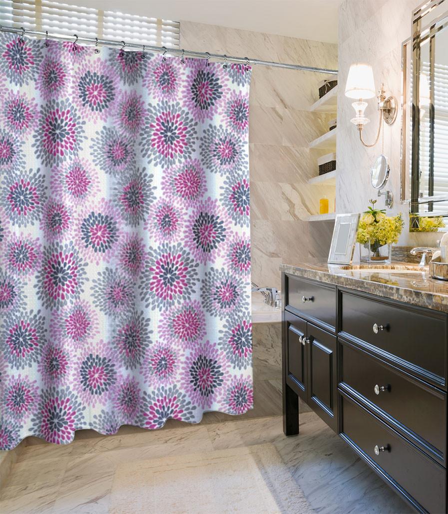 Hjem interiør design: vælge gardin: lilla badeforhæng